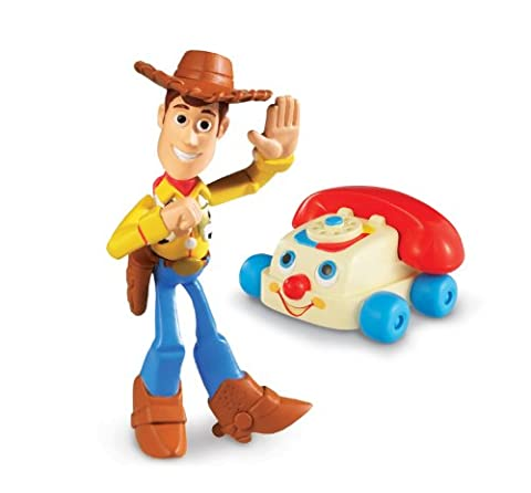 Disney / Pixar Toy Story 3 Action Links Mini Figure Buddy 2Pack Chatter Telephone Waving Woody - Fisher Price Chatter Telephone