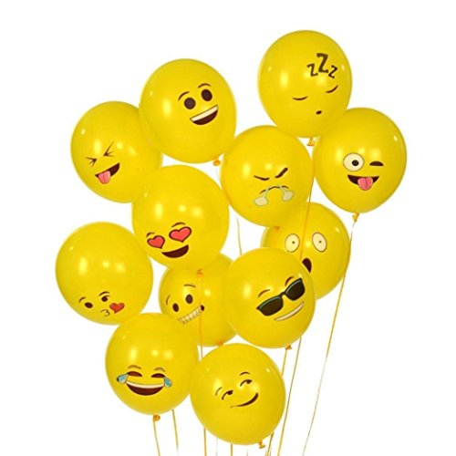 - Pausseo 10Pcs Latex Party 12 Inch Balloons Party Emoji Smiley Face Balloons Expression Balloons Wedding Decorations Spotted Balloon-Yellow