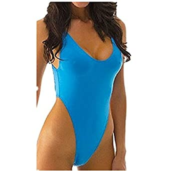 714cd6dec3745 Women's Sexy Blue High Cut Thong One-piece Bikini Swimsuit Swimwear Bathing  Suit Plus Size