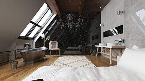 Panel de pared aspecto mármol WallFace 19341 MARBLE BLACK Revestimiento mural liso de aspecto piedra natural brillante autoadhesivo negro gris 2,6 m2: ...