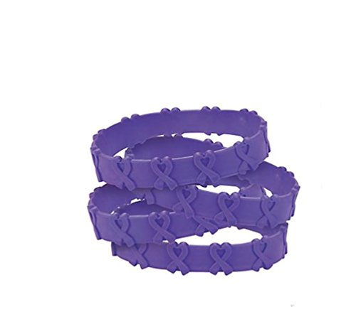 50 Purple Pop-Out Bracelets Pancreatic, Thyroid, Testicular Cancer, Alzheimer's, Animal Abuse Crohn's Disease, Cystic Fibrosis, Lupus, Fibromyalgia, Domestic Violence]()