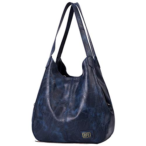 - Shoulder Bags for Women Soft Leather Hobo Bags 3 Compartment Large Capacity Handbag Multiple Pocket Tote Bag,Blue