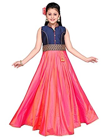 0ad7d0547b Sprouts Girls Ethnic Wear Designer Dress Blue and Pink Color,Paper Silk,  1pc: Amazon.in: Clothing & Accessories