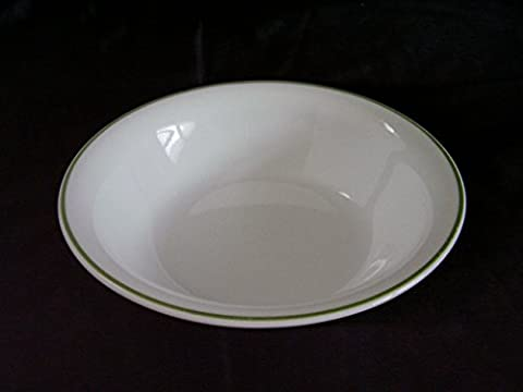 Set of 4 Corelle White Soup / Cereal Bowls with Green Rim Shadow iris - Light Green Bowl