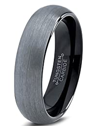 Tungsten Wedding Band Ring 6mm for Men Women Comfort Fit Black Enamel Domed Brushed Lifetime Guarantee
