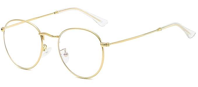 Navaris gafas retro redondas Gafas para hombre y mujer con filtro de luz azul Gafas unisex sin graduar con montura de metal y lentes transparentes