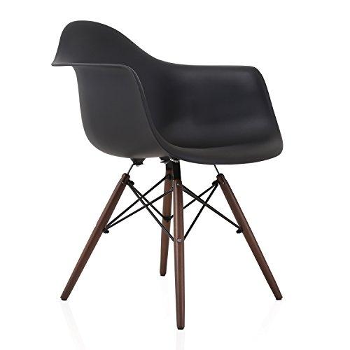 DAW Scandinavian Black Molded Plastic Dining Arm Chair with Dark Walnut Wood Eiffel Legs by CozyBlock
