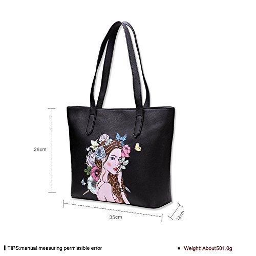 Faysting EU donna borsa a tracolla borsa a spalla fashion stile nero pelle buon regalo per san valentino
