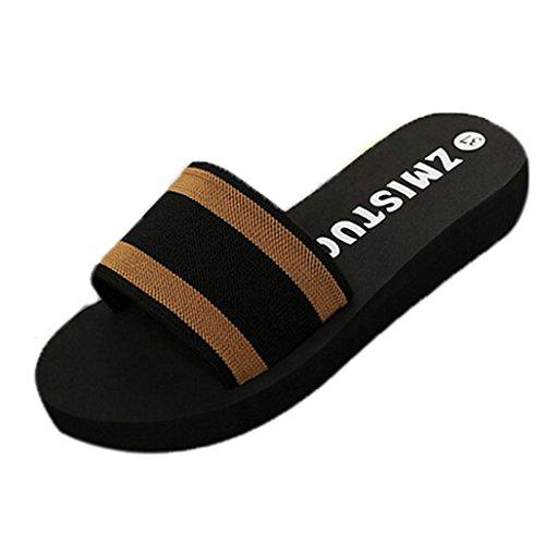 hunpta Slippers, Summer Women Shoes Platform Bath Slippers Wedge Beach Flip Flops Slippers Shoes Brown