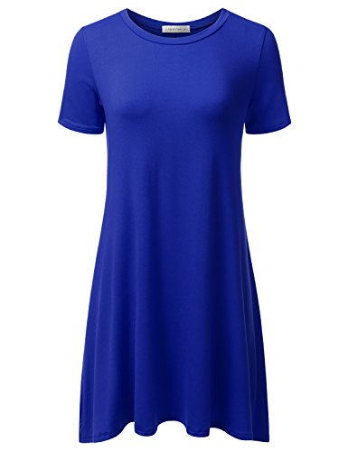 Jj Perfection Womens Casual Short Sleeve Loose Fit Swing T Shirt Tunic Dress Royal 1Xl