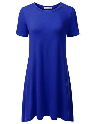 Jj Perfection Womens Casual Short Sleeve Loose Fit Swing T Shirt Tunic Dress Royal 3Xl