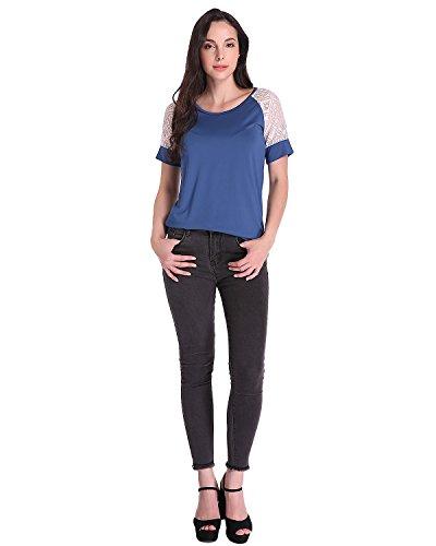 Auxo Mujeres Blusas Básica Camiseta de Manga Corta T Shirt Ocasional Cuello Redondo Tops Azul oscuro