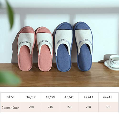Slippers Home Linen Simple Floor Summer Pink color 39eu Four Aminshap Size Women's Indoor 38 And Seasons Open Cotton Blue r07grEW