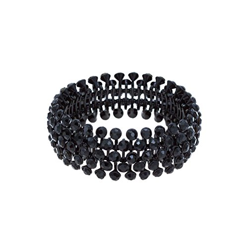 UPC 689247514084, Tennis 5 Row Rhinestone Stretch Bracelets Bridal Evening Party Bling Jewelry For Woman Bangle (Black Jet)