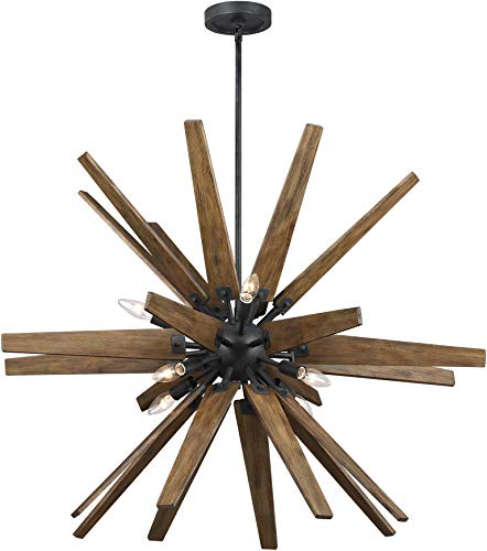 Feiss F3258/8DWZ/WOW Contemporary Modern Eight Light Chandelier from Thorne Collection in Bronze/Dark Finish