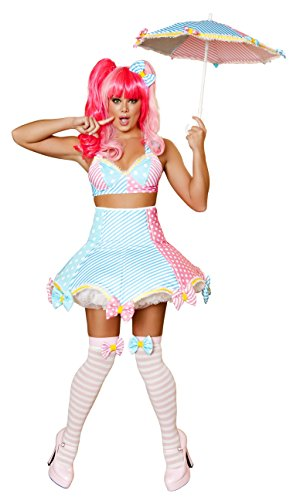 Costume Cotton Clown Candy (3 Piece Sexy Circus Clown Cotton Candy Dress)