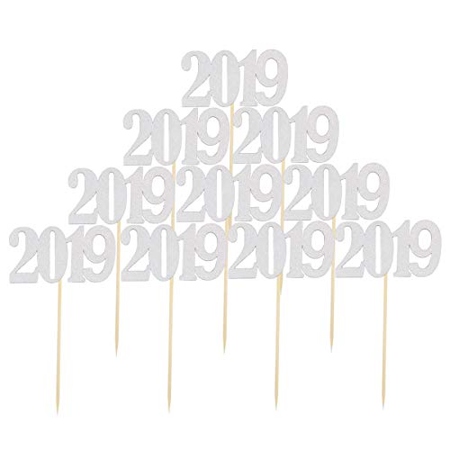 JANOU 2019 Silver Glitter Cake topper Cupcake Toothpick Toppers for Wedding Birthday Graduation New Year Party Favors Pack 10pcs