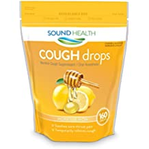 SoundHealth Honey Lemon Cough Drops, Lozenge, Cough Suppressant, 160 Count Single Bag