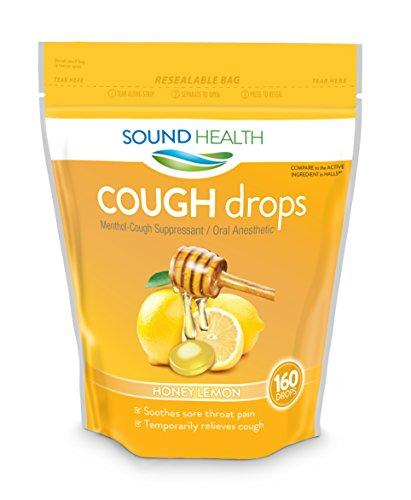 Sore Throat Lozenges Honey Lemon - SoundHealth Honey Lemon Cough Drops, Lozenge, Cough Suppressant, 160 Count Single Bag