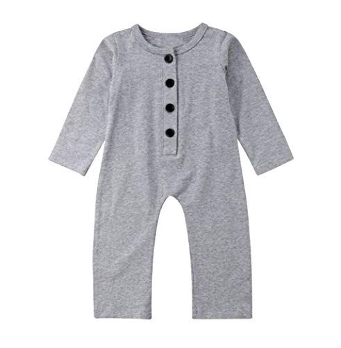 - Infant Baby Basic Romper Jumpsuit Boys Girls Long Sleeve Button Up One-Piece Bodysuit Newborn Comfort Clothes Outfits Gray