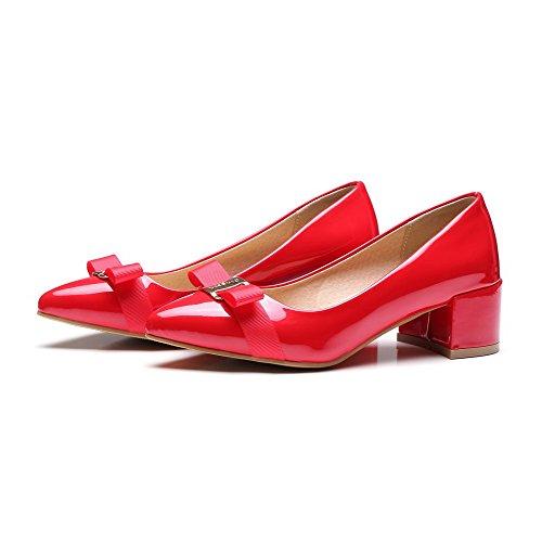 AllhqFashion Damen Mittler Absatz Rein Ziehen auf Blend-Materialien Pumps Schuhe Rot