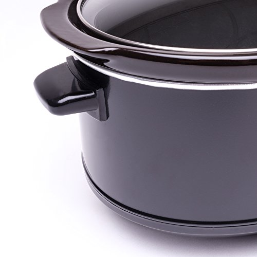 -[ Andrew James Slow Cooker in Black, 3.5 Litre, Removable Ceramic Bowl, Tempered Glass Lid, Cool T