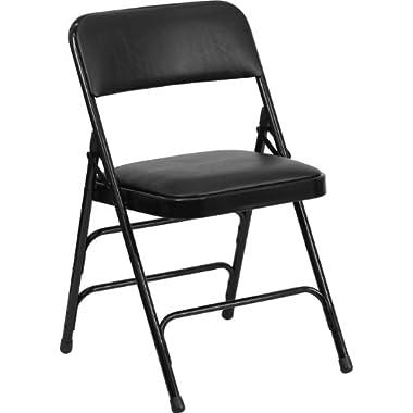 HERCULES Series Curved Triple Braced & Double Hinged Black Vinyl Upholstered Metal Folding Chair