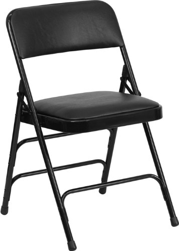Black Folding Chair Steel - Flash Furniture HERCULES Series Curved Triple Braced & Double Hinged Black Vinyl Fabric Metal Folding Chair