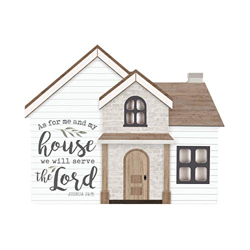 P. Graham Dunn As For Me and My House Scripture Brown 9 x 7 Wood Shaped Tabletop Plaque (As For Me And My House Scripture)