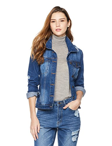 Lily Parker Women's Long-Sleeve Button Front Denim Jacket Medium Dark Blue