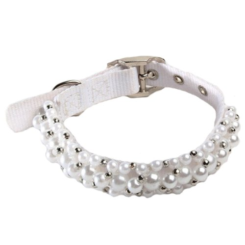 "FabuLeash Fabucollar Fancy Glamorous Sparkling Beaded White Pearl Fashion Jewelry Necklace Dog Collar 9.5""-13"" x 3/4"""