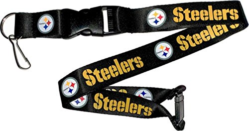 (NFL Pittsburgh Steelers Team Lanyard, Black)