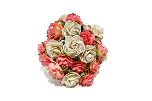 (N.83) 40 Pcs Mixed Rose Mulberry Pink Tone Paper Flower Mixed Scrapbooking Wedding