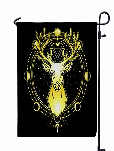 Shorping Welcome Garden Flag, 12x18Inch Animation Portrait Horned
