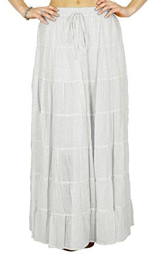 Phagun Coton Summer femmes Jupe Ethnique conception de la taille avec cordon de serrage Blanc