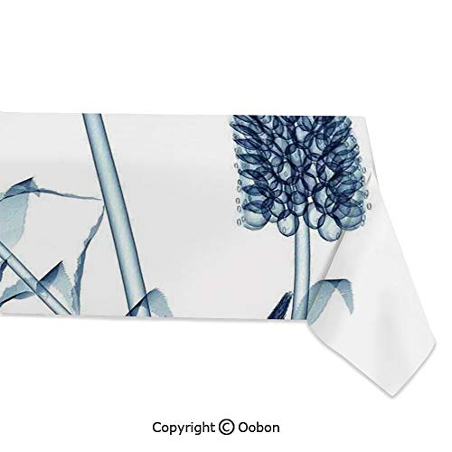 oobon Space Decorations Tablecloth, Gooseneck Loosestrife Flower X Rays Image Exotic Plants Blooms Artful Home, Rectangular Table Cover for Dining Room Kitchen, W60xL120 inch
