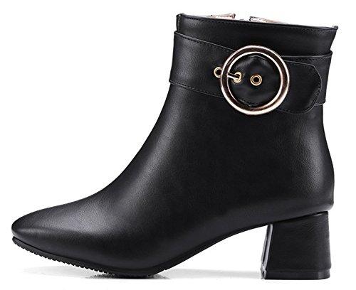 Aisun Kvinna Spänne Rem Inuti Zip Upp Dressat Fyrkantig Tå Boots Blockerar Mitten Häl Tossor Skor Med Dragkedja Svart