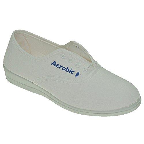 AEROBIC - Mujer Zapatillas LLana de Lona Y Cordones - Modelo 6001 BLANCO