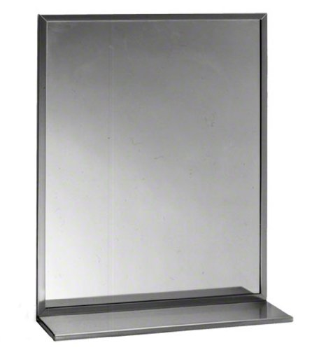 Bobrick 165 Series 430 Stainless Steel Channel Frame Glass Mirror, Bright Finish, 24'' Width x 30'' Height by Bobrick