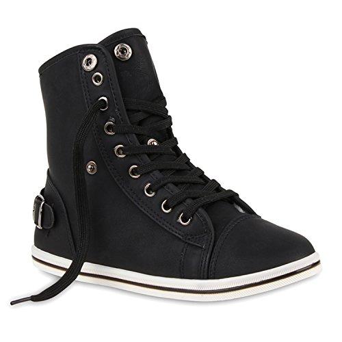 Stiefelparadies Damen Sneaker High Warm Gefütterte Schuhe Winter Sneakers Schnallen Umklappbarer Schaft Kunstfell Turnschuhe Flats Flandell Schwarz Gefüttert