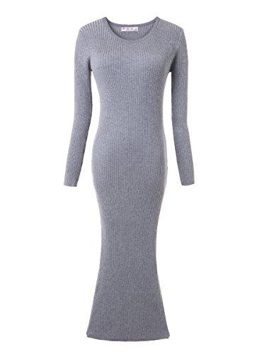 OLRAIN Womens Slim Fitted Crewneck Knit Sweater Dress Grey (Split Neck Sweater Dress)