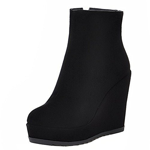 Dress Ankle Coolcept Boots Heels Wedges Black Platform Women's HwUUqIxvA