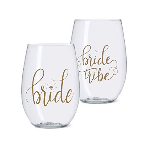 Bachelorette Party Wine Glasses (11 Piece Set of Bride Tribe and Bride Durable Plastic Stemless Wine Glasses for Bachelorette Parties, Weddings and Bridal)