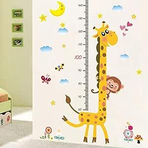 ملصق حائط قياس الارتفاع برسومات كرتونية ورق جدران لغرفة الأطفال
