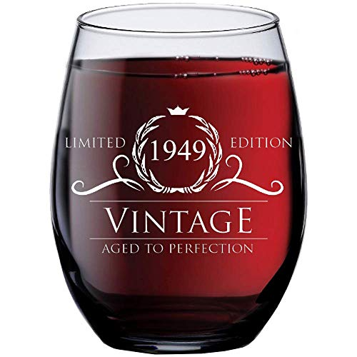 1949 70th Birthday Gifts for Women and Men Wine Glass | Funny Vintage 70 Year Old Presents | Best Anniversary Gift Ideas Him Her Husband Wife Mom Dad | 15 oz Stemless Glasses | Party Decorations Wines ()