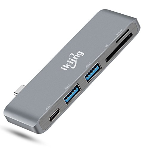 ikling USB-C Hub Multiport Adapter Portable Combo Hub with USB C Charging Port 2 USB 3.0 Ports SD/TF Card Reader Compatible MacBook Pro Lenovo Asus Google Pixel USB Type C Device Owner by ikling