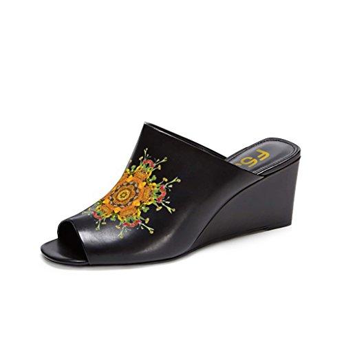 Fsj Vrouwen Sexy Peep Toe Muilezel Stijl Wedge Sandals Instappers Voor Casual Grootte 4-15 Ons Zwart-gele Bloem