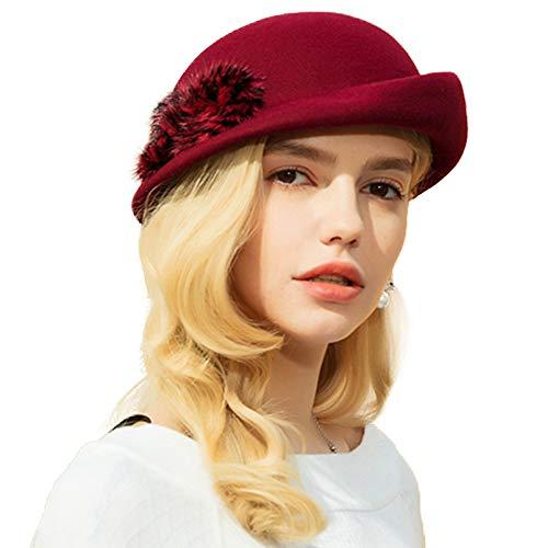 Winter Beret Hats Vintage Pillbox 100% Wool Felt Hat Fur Crimping Beanie Hat (Wine Red)
