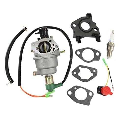 HURI Carburetor with Gasket Spark Plug Stop Switch for Titan TG6500 TG6500ES TG7500M TG8000 TG8500 TG8500M TG8500RC Gasoline Generator