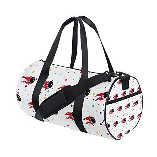 (Personalized Fire Flames Bowling Gym Duffel Bag- Training Duffle Bag DKRetro Round Travel Sport Bags for Men)